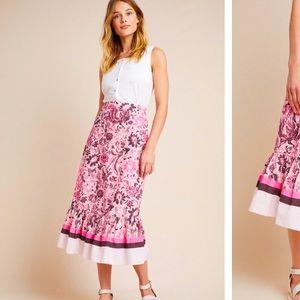Anthropologie NWT Roxana Flounced MIDI Skirt SizeL